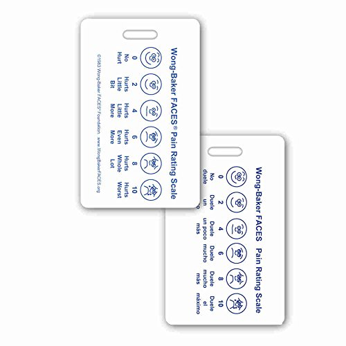 Wong-Baker Faces® Pain Rating Scale Vertical w/Spanish on Back Badge ID Card Pocket Reference Guide (1 Card) (Wong Baker Faces Pain Rating Scale Spanish)