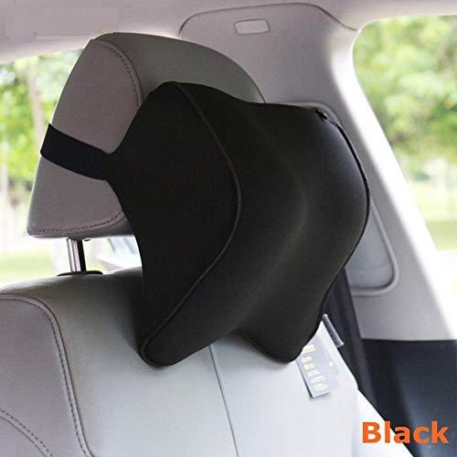 Wxlyy Car hoofdsteun kussen lumbale zitting kussen in auto hoofdsteun memory foam stof voor reisstoel ondersteuning kussenslopen Zwart