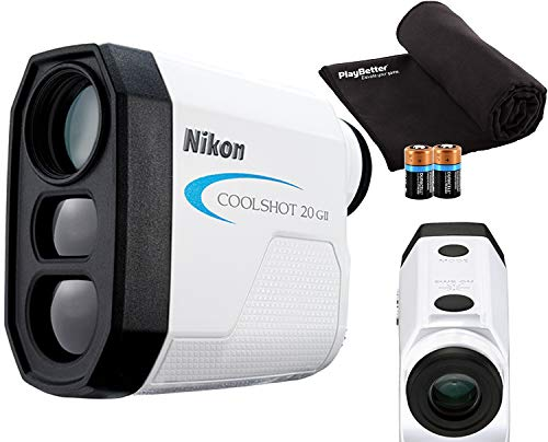 Nikon COOLSHOT 20 GII Golf Laser Rangefinder Bundle | Includes Carrying Case, PlayBetter Microfiber Towel, Two (2) CR2 Batteries | First Target Priority, 6X Magnification