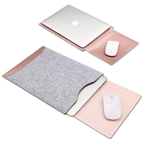 GENORTH Filz Laptop Hülle Tasche Kompatibel mit 13 Zoll MacBook Pro 2012-2015 and 13 Zoll MacBook Air 2011-2017, Laptop Sleeve 13 Zoll für Modell A1466/A1502/A1425(Rose Gold)