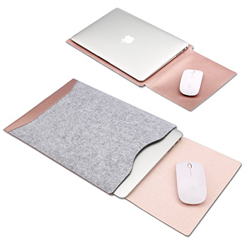 GENORTH Filz Laptop Hülle Tasche Kompatibel mit 13 Zoll MacBook Pro 2012-2015 and 13 Zoll MacBook Air 2011-2017, Laptop Sleeve für Modell A1466/A1502/A1425(Rose Gold)
