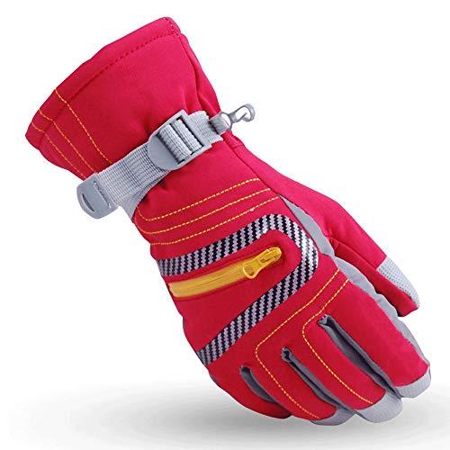 W-J-S Outdoor-warme Handschuhe Männlich Thick All-Finger Berg windundurchlässiges Ski Fleece-Handschuhe Eisklettern Ski-Schutz (Color : Red)