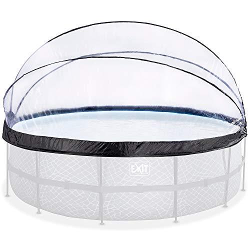 EXIT - Pool Abdeckung - rund, ø488cm, transparent, Überdachung für Aufstellpools, universal, komplett abklappbar, Poolzubehör