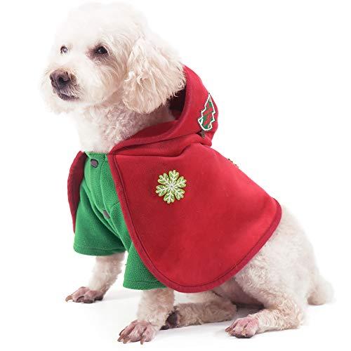 PETTOM Costume da Cane di Natale con Cappuccio per Cani di Taglia Piccola con Albero di Natale e Maglione Invernale con Bottoni