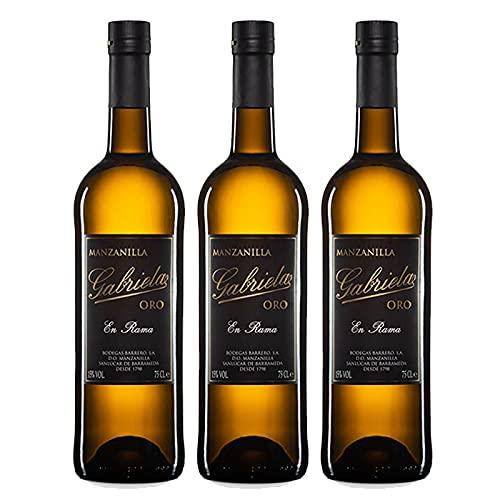 Vino Manzanilla en Rama Gabriela Oro de 75 cl - D.O.Manzanilla-Sanlucar de Barrameda - Bodegas Barrero (Pack de 3 botellas)