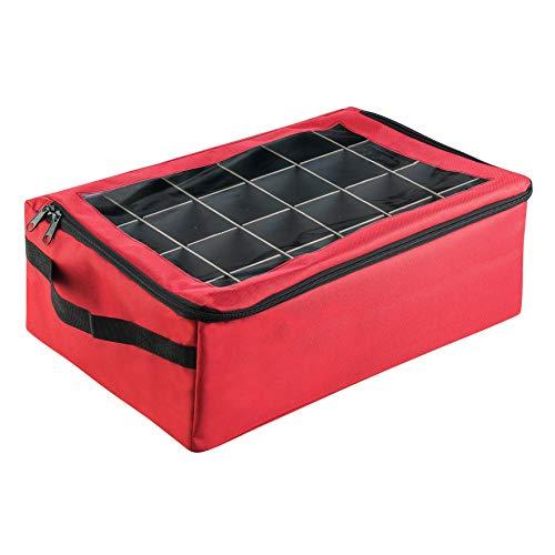 Tiny Tim Totes Red | Premium | 48 Christmas Ornament Organizer Storage Box Case