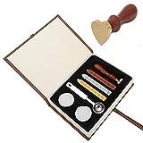 Mogokoyo Set di 1 Sigillo Personalizzbile a Forma di Cuore + 3 Pcs Ceralacche + 1 Cucchiaio + 2 Cere, Vintage Timbro Personale in Ottone e legno, Set Lettere