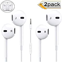 [2 Pack] Headphones/Earphones/Earbuds, Timegevity 3.5mm Wired Headphones Noise Isolating Earphones Built-in Microphone & Volume Control Compatible iPhone iPod iPad Samsung/Android / MP3 MP4 (White)