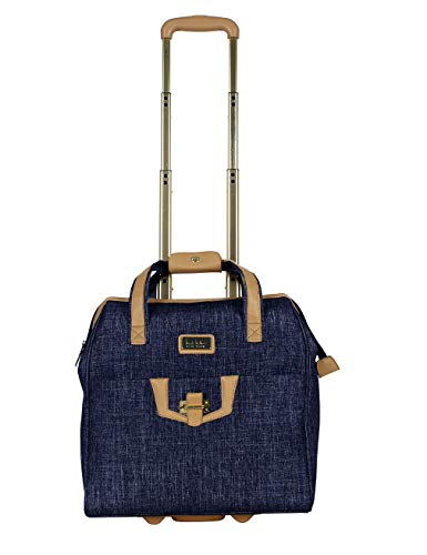 Nicole Miller Underseat Luggage Collection - Small Lightweight 15 Inch Under Seat Bag - Briefcase for Women - Carry On Suitcase with 2- Rolling Spinner Wheels (Paige Navy)
