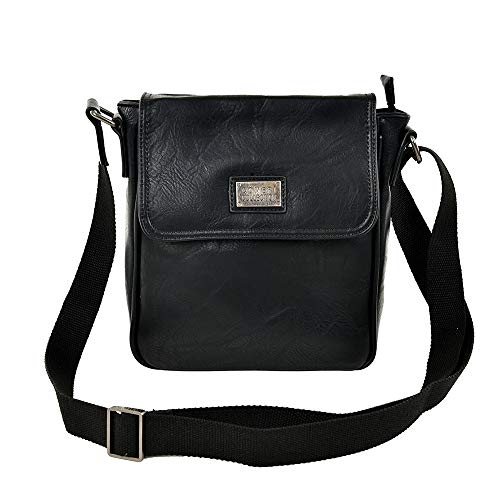 Coveri Collection - Bolso al hombro para hombre Negro Negro cm 24x21x8