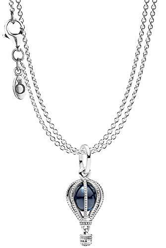Pandora Anhänger Heißluftballon mit 2-reihiger Halskette Silber 925 eleganter Halsschmuck für Damen, wunderschönes Geschenk-Set für modische Frauen, 75251