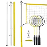 Franklin Sports Badminton Set - Backyard Badminton Net Set - Rackets and Birdies Included - Backyard or Beach Badminton Set - Family Set
