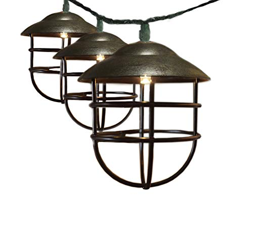 ACRAFT Antique Bronze Metal Lanterns String Lights with Vintage Style Brown Lantern Pendant Lighting for Carport Tree Branches Outdoor Garden 10 Bulbs 7.1ft (Plug in)