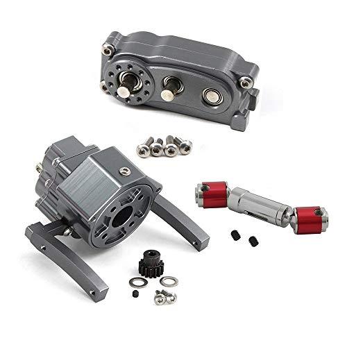 JVSISM Front Motor Transmission Prefixal Gearbox Transfer Case for 1/10 RC Crawler Car Axial SCX10 & SCX10 II Parts,Titanium