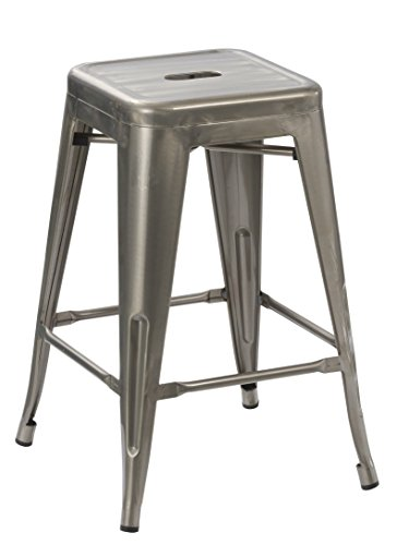 BTEXPERT 24-inch Industrial Tabouret Vintage Antique Rustic Style Distressed Metal Brush Modern Dining Counter Bar Stool - (Barstool)