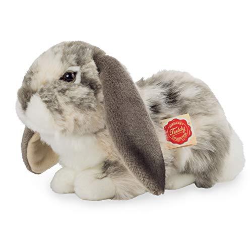 Teddy Hermann 93797 Hase Widder-Kaninchen liegend grau-Weiss gescheckt 30 cm, Kuscheltier, Plüschtier