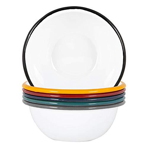 Argon Tableware Cuencos Blancos Esmalte - Acero al Aire Libre Camping Vajilla Vajilla - 16cm - 6 Colores