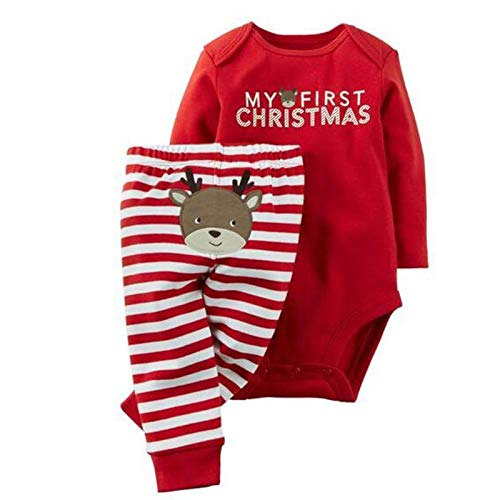 Infant Baby Boys Girls My First Christmas Print Clothing Set Long Sleeved Bodysuit+Striped Pants 2016, 4-6 Months