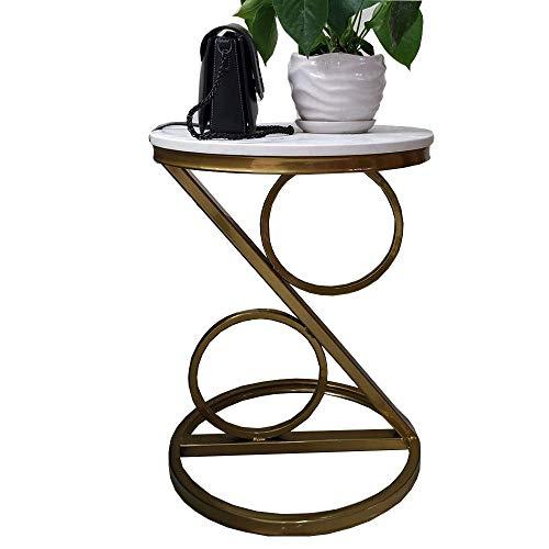 Home&Selected tafel, modern, Scandinavisch, marmer, klein, rond, woonkamer, hoekbank, tafel, balkon, vrije tijd, salontafel, goud (kleur: B) Een