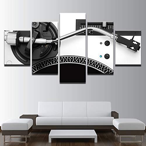 Zeitgenössische Wandkunst Gemälde Für Schlafzimmer Dj Mixer Bilder Plattenspieler Spielen 5 Panel Leinwandbilder Partydekorationen(NO Frame size)