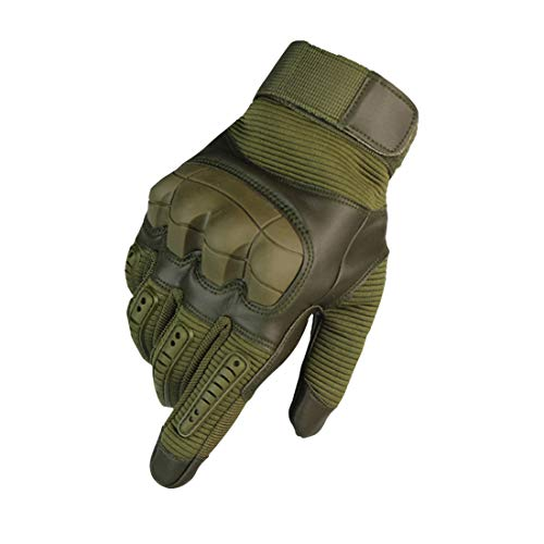 WELOVEHOME Tactical Gloves Men, Touch Screen Full Finger Army Military Gloves Rubber Hard Knuckle for Motorbike Climbing Hiking Hunting Shooting Airsoft Paintball Cycling Outdoor Sports Army Green XL