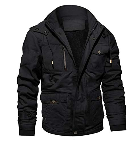 MAGCOMSEN Herren Winterparka Herrenjacke Warm Fleece Jacke Atmungsaktiv für Herren Gefüttert Mantel Outdoor Bomberjacke mit Abnehmbarer Kapuze Schwarz L