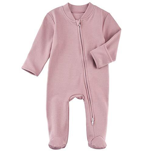 Baby Footed Pajamas with Mitten Cuffs - Unisex Newborn Double Ways Zipper Cotton Footie Onesies Infant Solid Color Sleep 'n Play Jammies (Purple, Newborn)