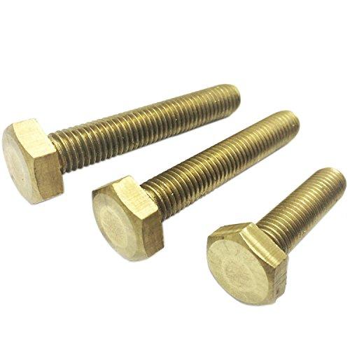M4 x 12mm Brass Hex Head Screws/Bolts,Full Thread,Pack of 20-Piece