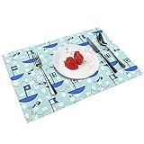 Tischsets mit Bootsflaggen, rutschfest, hitzewiderstandsfähig, waschbar, für Küche, Esszimmer, 30,5 x 45,7 cm