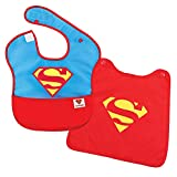 Bumkins SuperBib, Baby Bib, With Cape, Waterproof Fabric, Fits Babies and Toddlers 6-24 Months – DC Comics Superman , 10x9 Inch (Pack of 1)