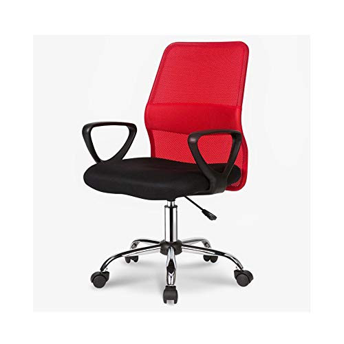 HOLPPO-Desk Silla Silla de Oficina en casa Acoplamiento Respirable de Altura Ajustable mesas giratorias y sillas de Ordenador Que soportan el Peso de 150kg sillas de Escritorio (Color : Red)