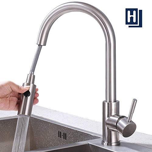 Homelody Wasserhahn Küche ausziehbar Küchenarmatur mit Brause Spültischarmatur Edelstahl Mischbatterie Armatur Küche, Matt