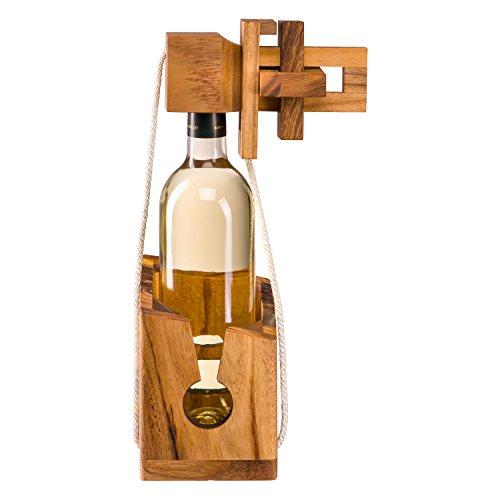 Puzle para botellas de madera noble, rompecabezas para botellas, juego de ingenio para botellas, envoltorio como regalo para botellas de vino convencionales, rompecabezas abrebotellas, juego de ingenio abrebotellas, puzle abrebotellas, juego de lógica, juego de ingenio, enigma abrebotellas, puzle acertijo para botella de vino de Zederello