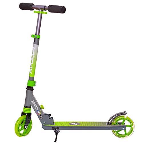 Apollo Scooter LED - Skyracer con Ruedas LED 145 mm City Scooter con suspensión, City Roller Plegable y Ajustable en Altura, Kick Scooter para niños y Adolescentes