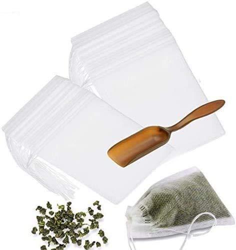 300 STÜCKE Teefilterbeutel mit Löffel, Feine Einweg Tee-Ei Tunnelzug Seal Filter Teebeutel, Natürliche Ungebleichte Papiertüte Für Loose Leaf Tee Und Kaffee