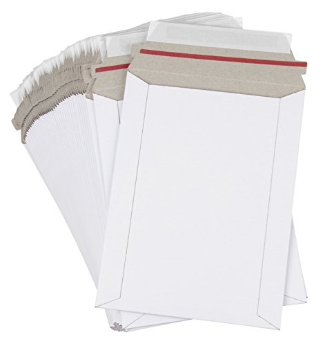 Rigid Mailers - 100-Pack Stay Flat Photo Document Mailers, Self-Seal Paperboard Envelope Mailers for Photos, Pictures, CDS, No Bend, White, 6 x 8 inches