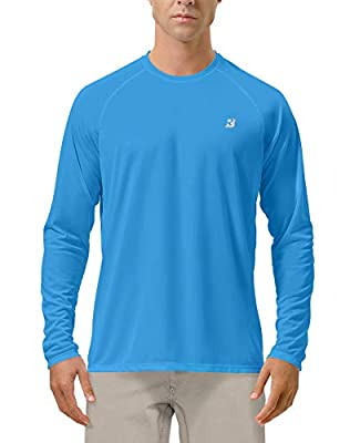 Roadbox Men's Sun Protection UPF 50+ UV Outdoor Long Sleeve Dri-fit T-Shirt Rashguard Shirts for Running, Fishing, Hiking (Campanula Blue, Large)