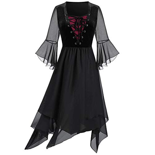 CICIYONER Damen Kleider Übergröße Schier Mesh Geschichtet Schnüren Taschentuch Gothic Kleid (M, Schwarz)