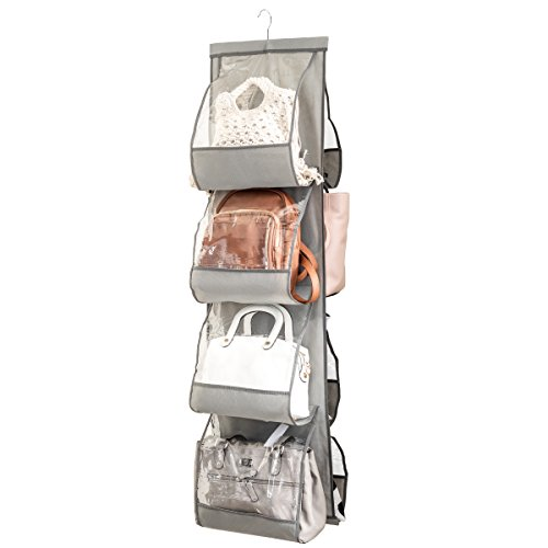"Zober Hanging Purse Organizer For Closet Clear Handbag Organizer For Purses, Handbags Etc. 8 Easy Access Clear Vinyl Pockets With 360 Degree Swivel Hook, Gray, 48"" L x 13.8"" W"