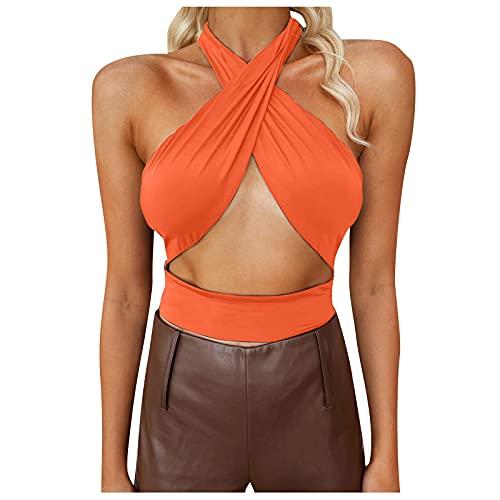 Liably Chaleco sexy para mujer, espalda cruzada, cuello abierto, chaleco de verano, moderno, elegante y encantador, monocolor, básico, sin mangas naranja L