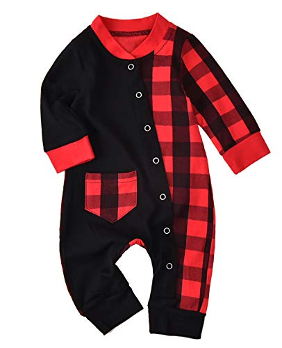 Unisex Infant Girl Boy Buffalo Plaids Romper Footies Baby Christmas Pajamas Clothes (0-3 Months, Black&Red)