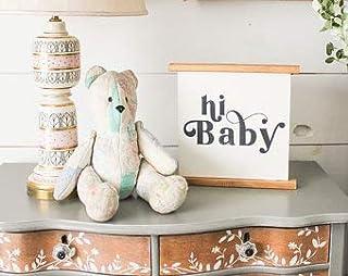 Not Branded Panneau en bois avec inscription « Hi Baby » - Pour salle de bain, buanderie, buanderie