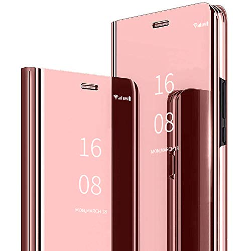 MadBee Coque Galaxy Note 10 Plus [Film de Protection écran], Smart Mirror Cover en Cuir Flip téléphone Mobile Étui Housse de Protection pour Samsung Galaxy Note 10 Plus (Rose)