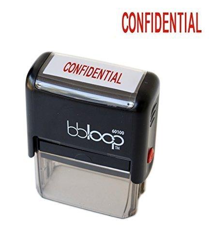 "BBloop Stamp""Confidential"" Self-Inking, Rectangular. Laser Engraved. RED"