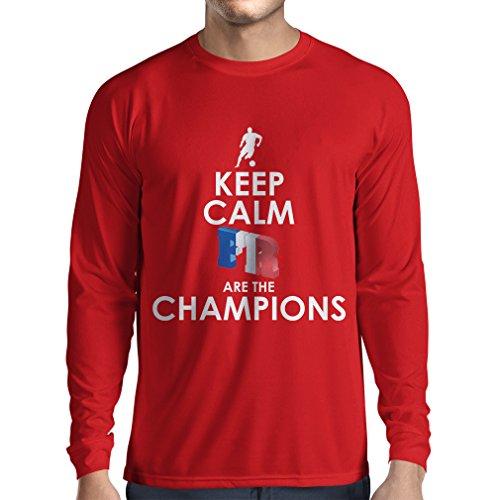 Camiseta de Manga Larga para Hombre Los franceses Son los campeones: Campeonato de Rusia 2018, Equipo de fútbol de la Copa del Mundo, Camiseta de la afición de Francia (Small Rojo Multicolor)