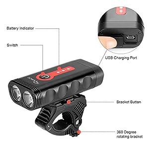 Ryaco Luz Bicicleta Recargable USB, 4 Modos de iluminación 2400 Lúmenes IP65 a Prueba de Agua para Acampar LED Faro lámpara Bicicleta para Carretera y Montaña
