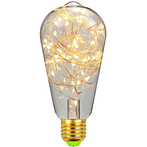 LightingDesigner RGB-Edison-LED-Leuchtmittel, 1,8 W, 220 V, E27, Kupferdraht, Soffittenlampe (ST64, warmweiß)