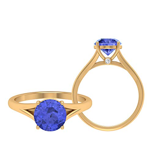 Anillo solitario, anillo promesa de oro, piedras preciosas redondas de 2,03 quilates, anillo de tanzanita D-VSSI Moissanite 8 MM, anillo de boda catedral, 18K Oro amarillo, Size:EU 48