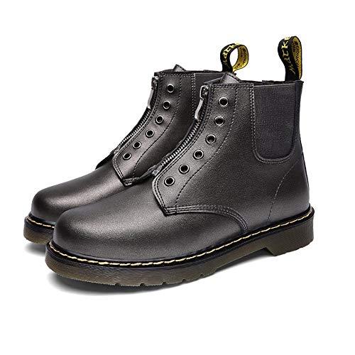 Zipper Martin Boots Zapatos de Herramientas para Hombre Más Altos Además de Zapatos de Algodón de Invierno Cálido Color de Pistola