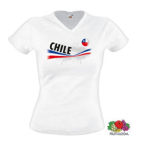 world-of-shirt Damen T-Shirt Chile Vintage Trikot|S